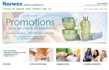 Dawn's Norwex Retail Website in French
