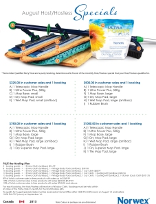 August 2013 Norwex Hostess Specials Canada