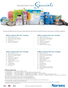 September 2013 Norwex Hostess Specials USA