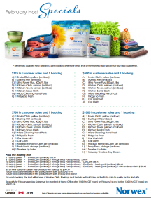 February 2014 Norwex Hostess Specials Canada