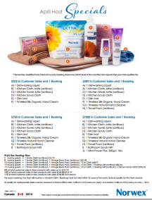 April 2014 Norwex Hostess Specials Canada