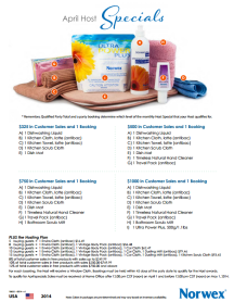 April 2014 Norwex Hostess Specials USA