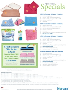 April 2015 Norwex Host Specials USA